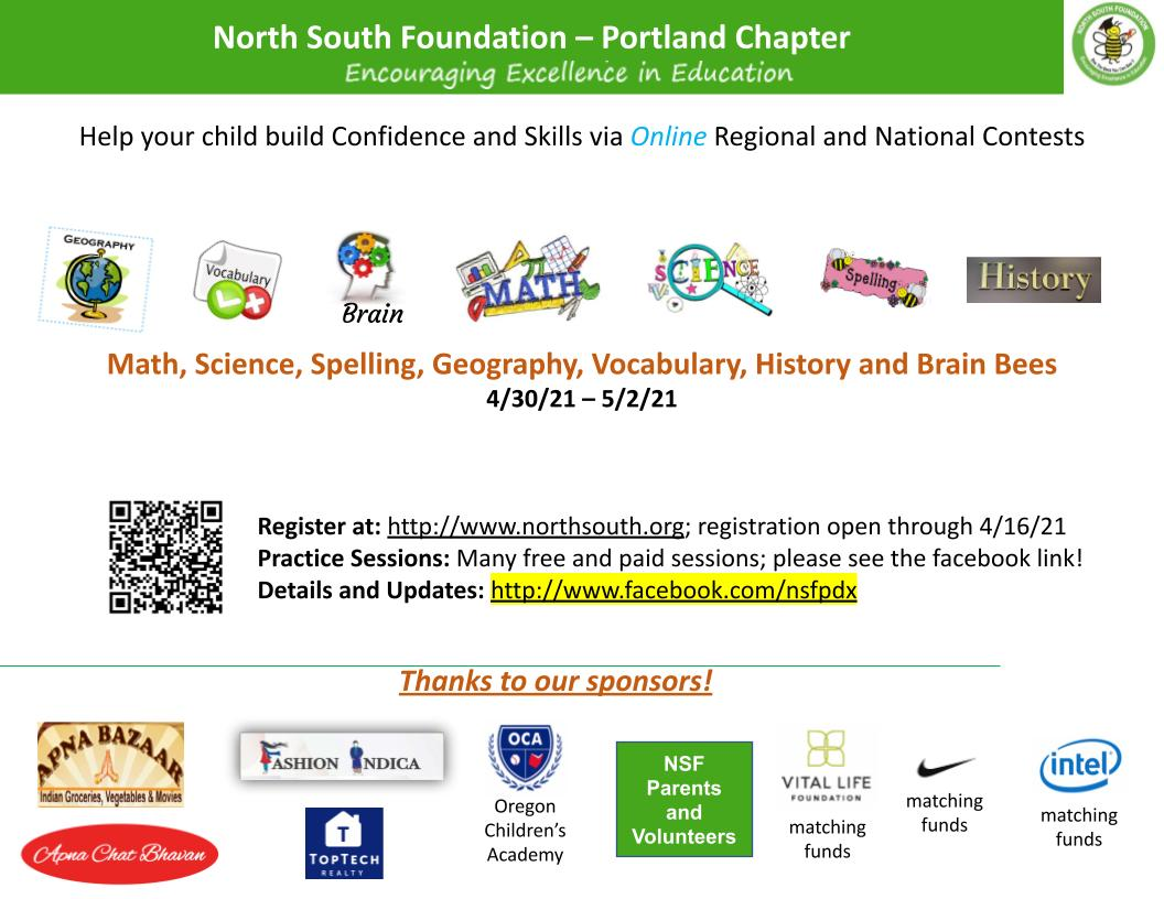 North South Foundation - Regional Student Contests Registration Deadline